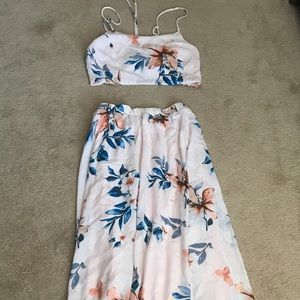 Two piece midriff skirt and top.